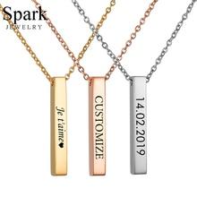 Spark нержавеющая сталь пользовательское имя, дата-бар ожерелья 3 цвета Персонализированная табличка с именем вертикальные бирки для женщин подарок на день рождения воротник