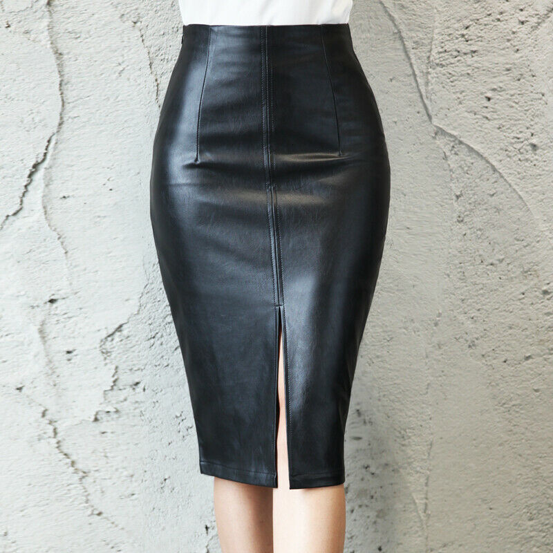 Black PU Leather Midi Split Skirts Women 2019 New Sexy High Waist Bodycon Office Pencil Skirt Knee Length Plus Size L-5XL