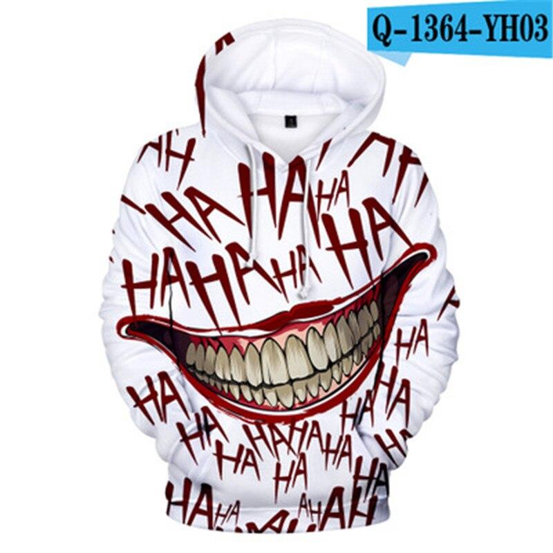 Haha Joker New 3D Print Sweatshirt Hoodies Men And Women Hip Hop Funny Autumn Streetwear Hoodies Sweatshirt For Couples Clothes