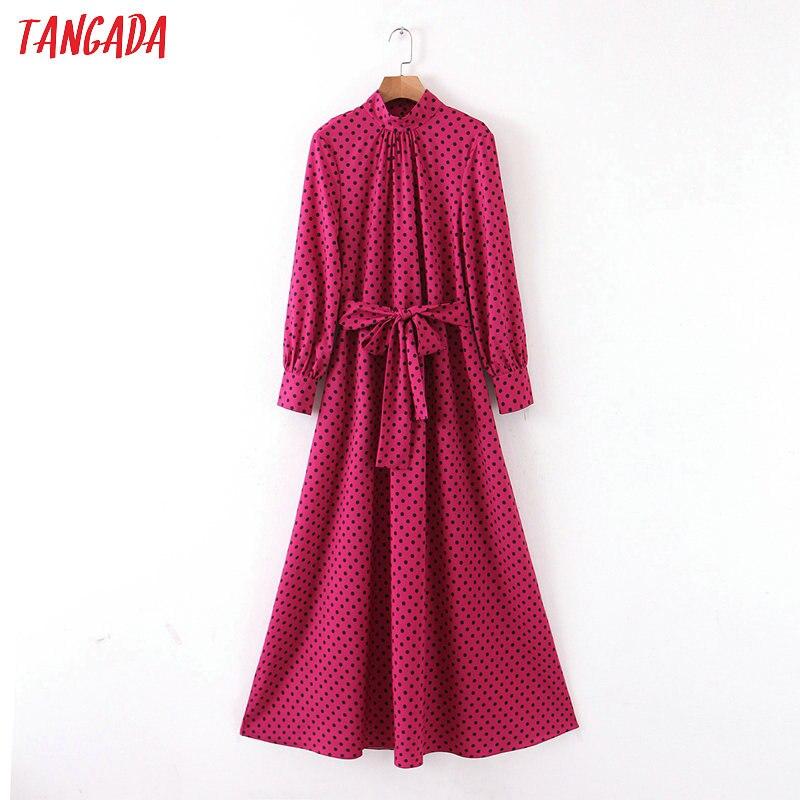 Tangada Women Hotpink Dot Print Long Dress With Slash Long Sleeve Vintage Female Pleated Elegant Maxi Dresses SL198