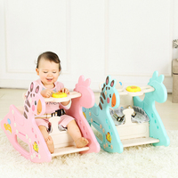 Cute Plastic Animals Rocking Hourse with Music Dual Use Rocking Horse Seat Dual Purpose Kids Ride 1 6 years old Baby Toys