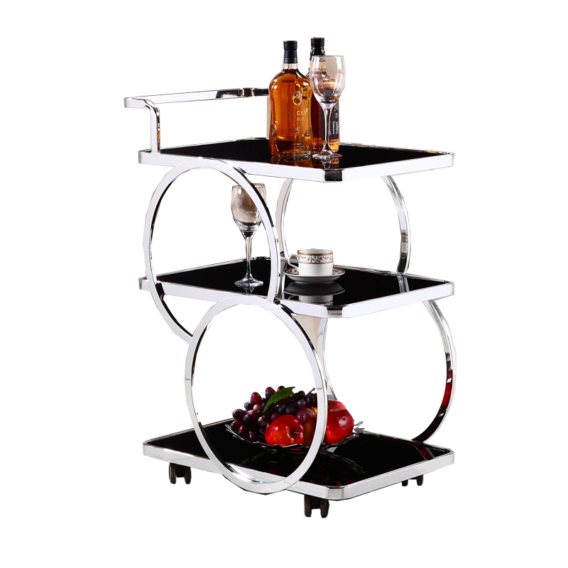Hotel Restaurant Delivery Car Stainless Steel Three-layer Wine Car Tea Water Car Dessert Cake Car 4S Shop Mobile Trolley