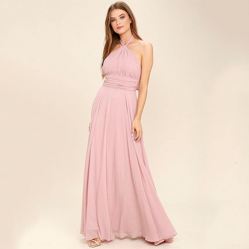 BacklakeGirls Sexy Halter Neck Fold Pleated Chiffon Evening Dress Long A-line Prom Party Dress Vestido De Festa