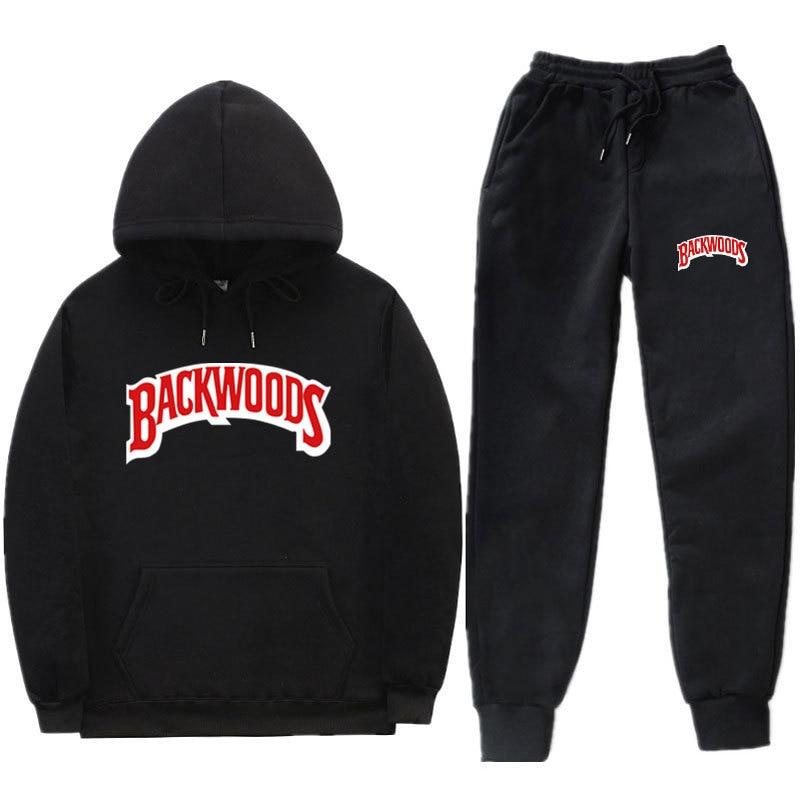 Hot Selling Trendy Letters Backwoods Printed Hoodie Suit Men And Women Sports Set Hoodie Sweatpants
