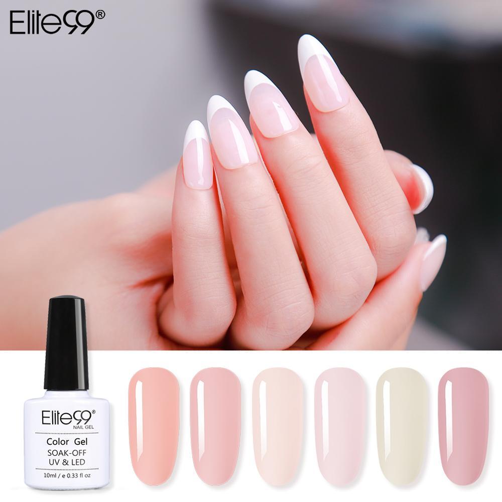 Elite99 10ml French Nude Gel Nail Polish Soak Off Translucent Nail Gel Polish Semi Permanent Nail Polish Gellak Primer For Nails