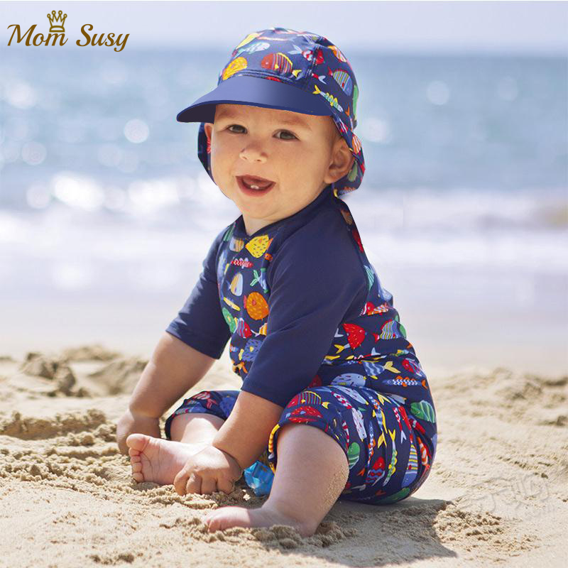 2020 Summer Baby Boys Swim Suit One Piece With Cap Infant Toddler Child  Swimwear Cartoon Bathing Suit Kid Swimming CLothes - Mega Deal #17713    Cicig