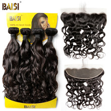 BAISI Brazilian Water Wave Human Hair Weave 4 Bundles with Closure Virgin Hair Bundles with Closure(China)