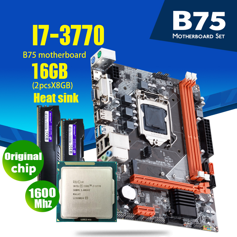 atermiter B75 motherboard set with Intel Core I7 3770 2 x 8GB = 16GB 1600MHz DDR3 Desktop Memory Heat sink USB3.0 SATA3|Motherboards|   - AliExpress