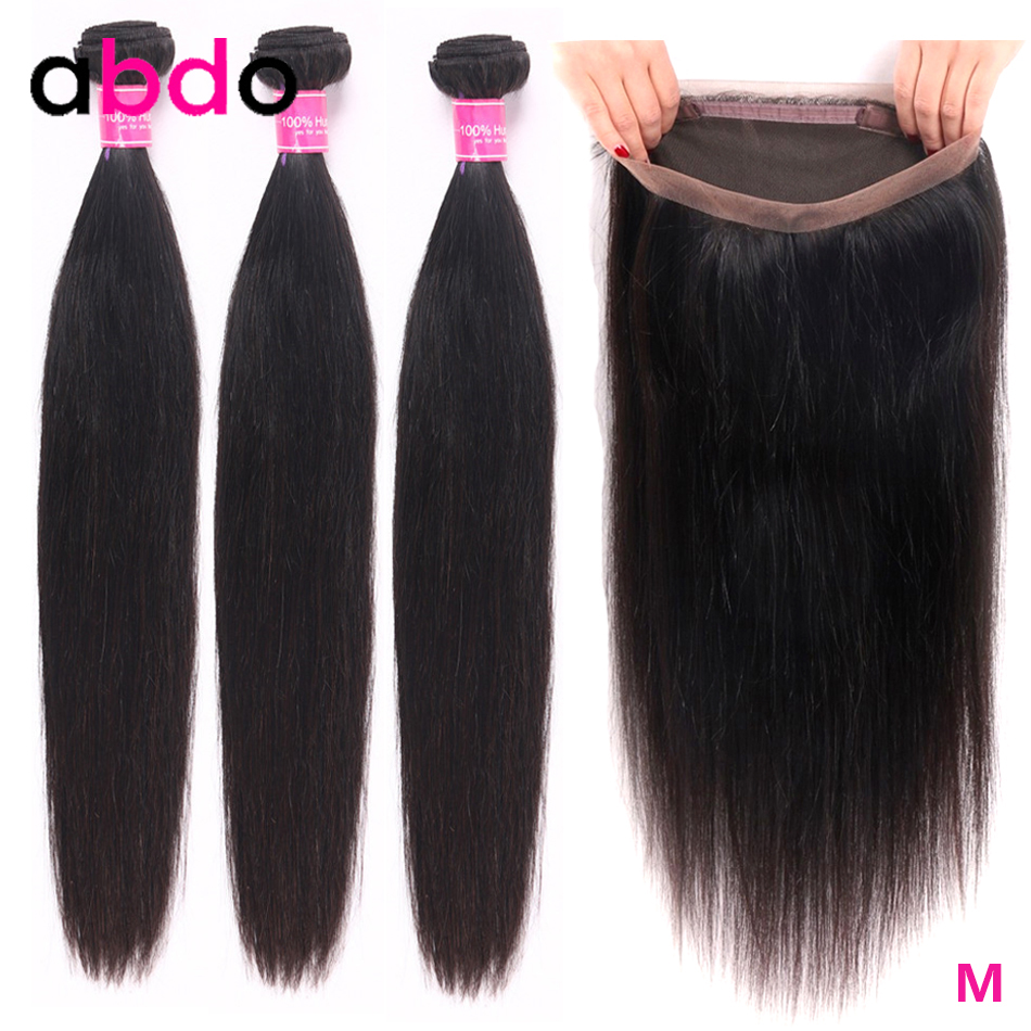 Abdo Brazilian Straight Hair Wave Bundles With Closure 360 Frontal With Bundles Human Hair Bundles Swiss Lace Frontal Remy Hair