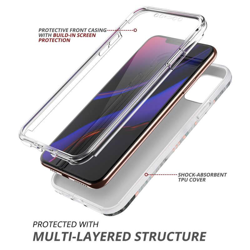 CaseสำหรับiPhone 11 Pro MaxสำหรับiPhone 11กรณีหินอ่อนBuilt-In Filmกรอบกันกระแทก360ป้องกันC