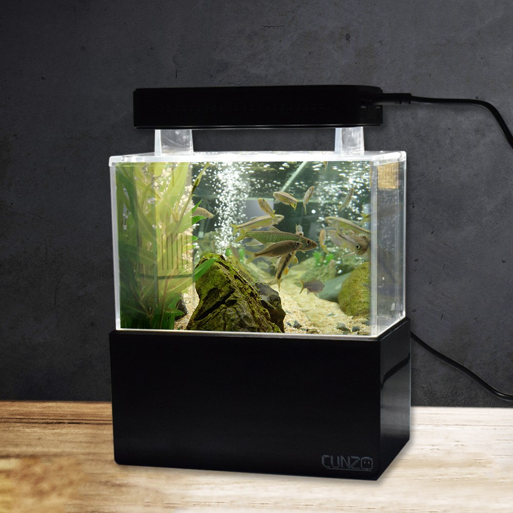 LED Aquarium Lihgt Mini Aquarium avec bureau bleu bol à poisson Betta Aquario Aquarium avec Filtration de l'eau LED pompe à Air silencieux