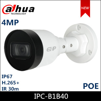 Dahua IP Camera IPC-B1B40 4MP 2.8mm 3.6mm Fixed lens IR Mini-Bullet Network Camera with POE Security Camera dahua 2x2mp starlight ir mini dome network camera ipc hdbw4231f e2 m built in mic ip67 ik10 original security ip camera no logo