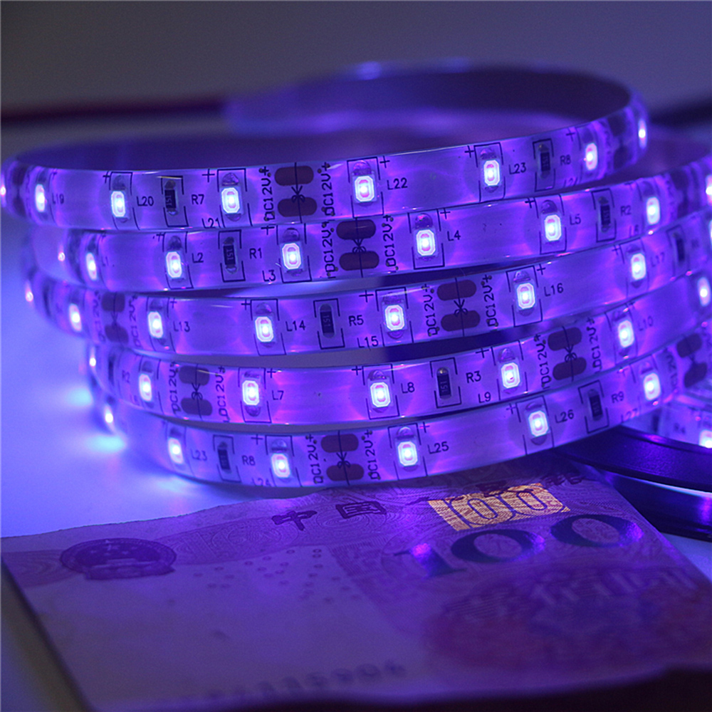 12V UV LED Strip Light SMD 2835 1M 2M 3M 4M 5M Waterproof Ultraviolet LED Diode Ribbon Purple Flexible Tape For DJ Fluorescence
