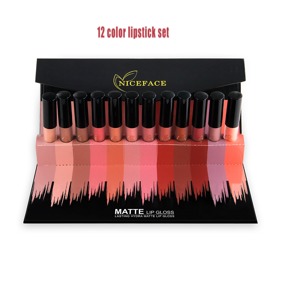 Gift Box 12-Color Lip Gloss Set Non-Stick Cup Does Not Fade Matte Lipstick Makeup WaterproofRSQ-K02