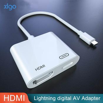 Adapter hdmi do błyskawicy na cyfrowy konwerter av 4K złącze kabla USB do 1080P HD dla iPhone X 11 8 P 6 S 7 P iPad Air iPod tanie i dobre opinie LACHOUFFE Kable HDMI HDMI 2 0a Błyskawica THT-007-2 Męski-żeński HDMI2 0 Dla ipoda Komputer Multimedia Monitor Telewizja