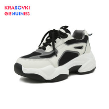Krasovki Genuines Sneakers Women Fashion Autumn Dropshipping Thick Bottom Breathable Muffin Solid Leisure Shoes