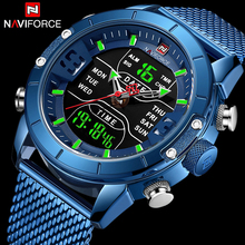 Naviforce Watch Men Top Brand Luxury Army Military Stainless Steel Mesh Mens Wristwatch Waterproof Digital Quartz Sports Watches naviforce top brand luxury gold steel waterproof watches men quartz watch mens army military wristwatch clock relogio masculino