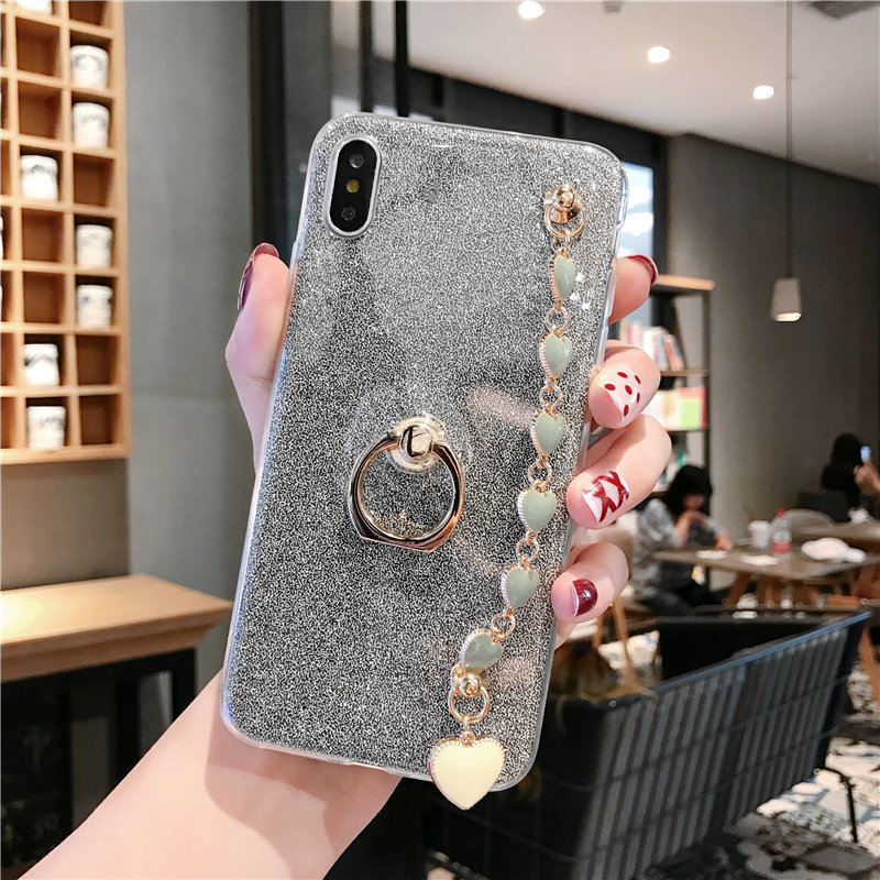 For <font><b>Samsung</b></font> Note10Plus Note9 <font><b>Note8</b></font> S10 S9 S8 Plus S7 Edge Blingbling Gemstone Love Heart chain Diamond Crystal Holder Phone <font><b>Case</b></font> image