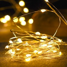 Fairy-Lights Decoration Battery-Powered Christmas Garland Copper-Wire Bedroom Wedding