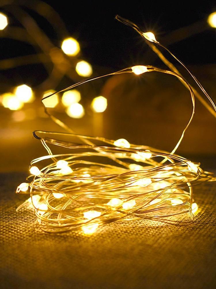 Гирлянда из медной проволоки, светодиодная гирлянда, Рождественская гирлянда для помещений, спальни, дома, свадьбы, Новогоднее украшение, н...