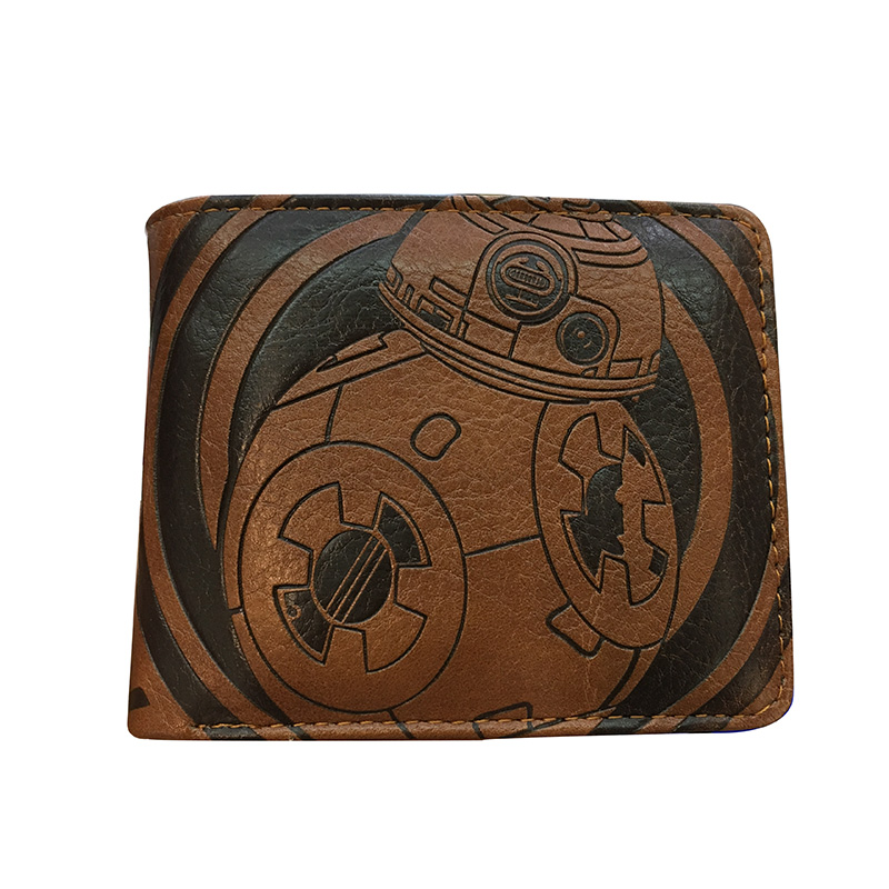 High Quality Embossed Leather Purse Comics Star War Star Wars Wallet With Zipper Coin Pocket Credit Card Slot Short Wallets