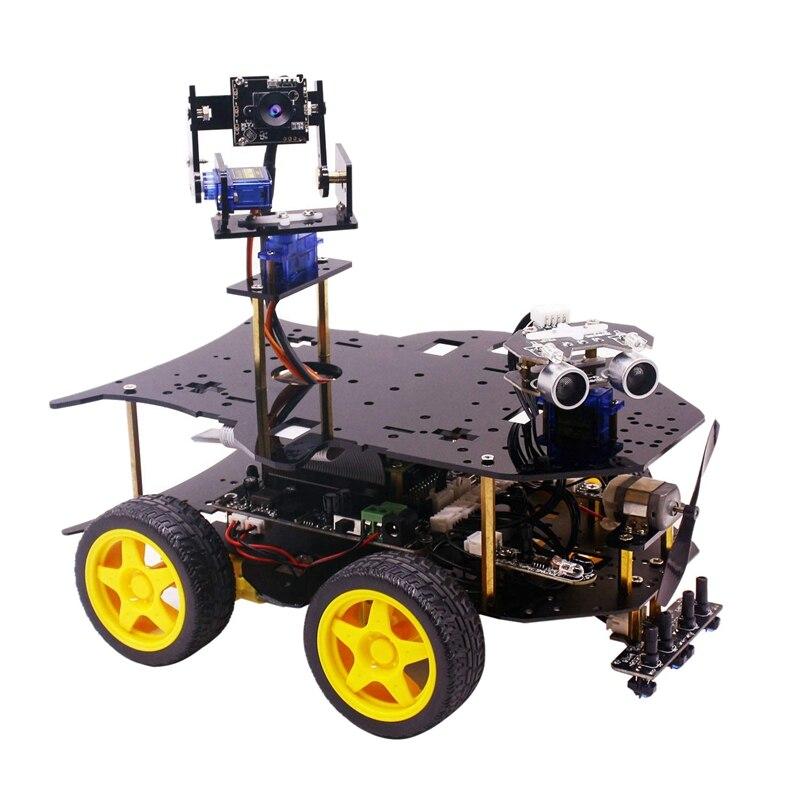 Zestaw z robotem dla Raspberry Pi 4B/3B + z kamera hd, programowalna inteligentna robotyka ciężarówka z 4WD (dla Raspberry Pi nie obejmuje)