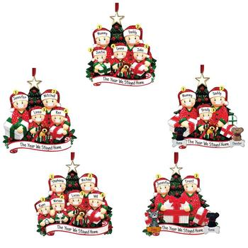 2020 Quarantine Christmas Gift Santa Claus Grandmother Pendants Wearing Masks With Mask Personalized Xmas Tree Ornament image