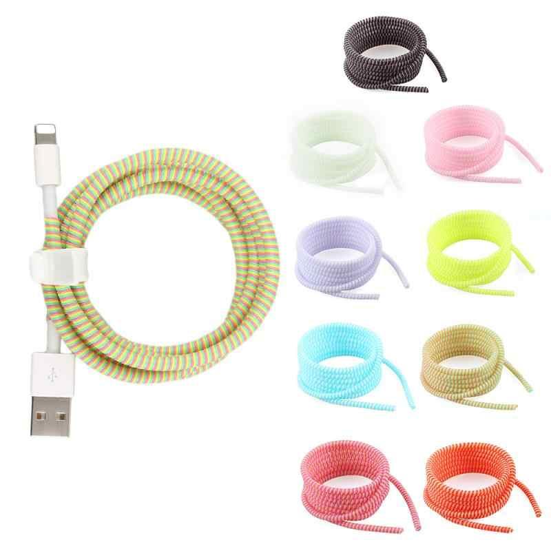 18 สี 140 ซม.สาย Winder Case ข้อมูลป้องกันสายเชือก Twine สาย USB ชาร์จสาย Winder Organizer สำหรับ iPhone