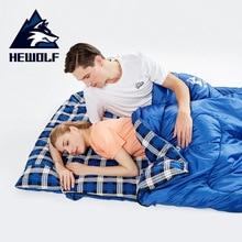 Hewolf 야외 더블 슬리핑 백 Splicable 봉투 봄과 가을 캠핑 하이킹 휴대용 면화 슬리핑 백 2.2m * 1.45m