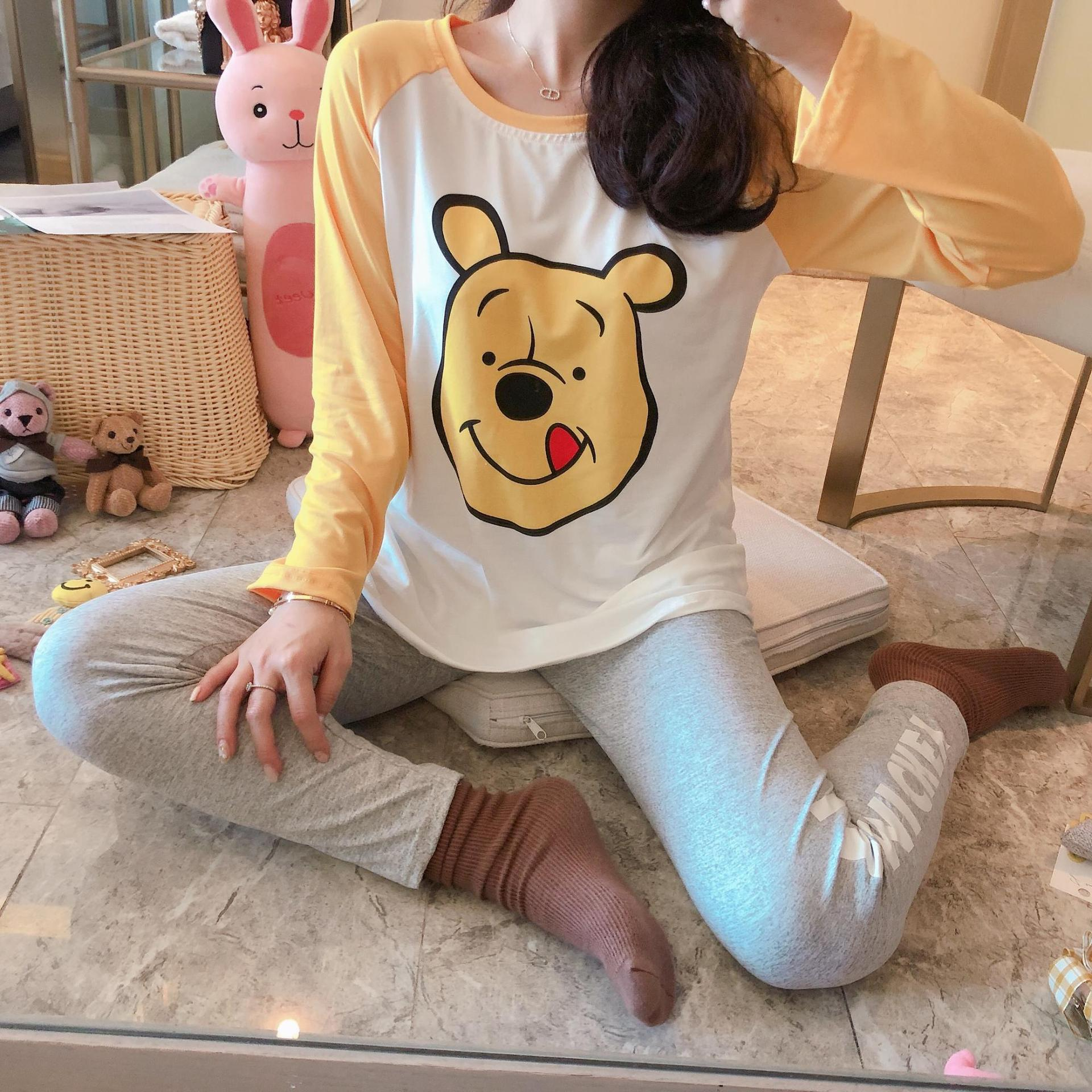 Spring And Autumn New Style Women Pajamas Sweet GIRL'S Cute Long Sleeve Tracksuit Pooh Cartoon-Outer Wear Set