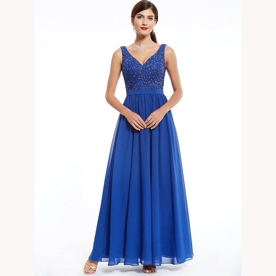 Dressv Dark Royal Blue Long Evening Dress Cheap V Neck Sleeveless Beading Wedding Party Formal Dress A Line Evening Dresses