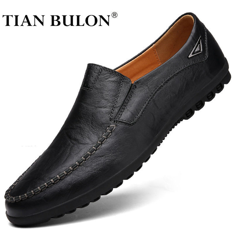 Genuine Leather Men Shoes Casual Luxury Brand 2020 Mens Loafers Moccasins Breathable Slip On Boat Shoes Zapatos Plus Size 37-47