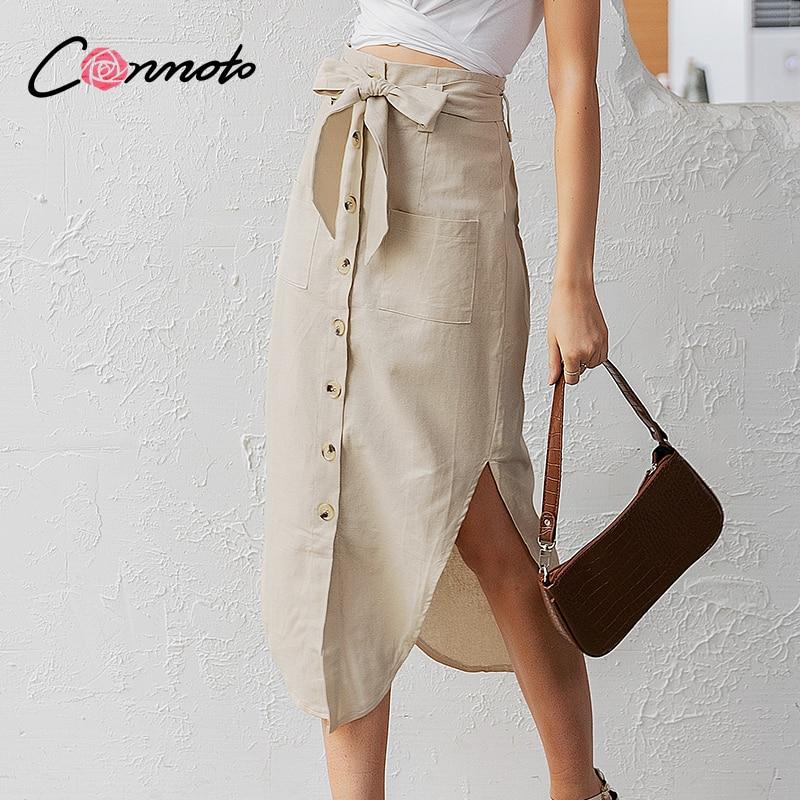 Image 4 - Conmoto High Fashion Women Summer Skirts High Waist Casual Solid Button Midi Skirts Bow Belt Tie Feminino Beach Skirts 2019 NewSkirts   -