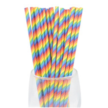 25/50pcs Foil Gold/Silver Disposable Drinking Paper Straws Rainbow For Birthday Wedding Deco Christmas Party Event Supplies