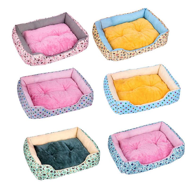Köpek yatağı Mat Kennel yumuşak köpek yavrusu evcil hayvan malzemeleri yuva küçük orta köpekler için kış sıcak peluş yatak ev su geçirmez kumaş
