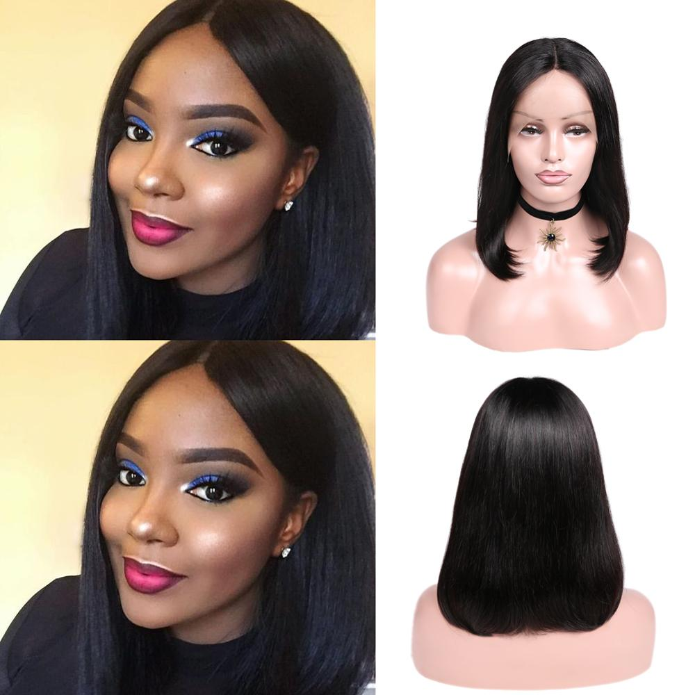 Wignee Short Straight Hair Lace Part Human Bob Wig For Black Women 150% High Density Glueless Remy Brazilian Hair Lace Human Wig