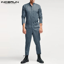 Men Pants Cargo Overalls Streetwear INCERUN Fashion Chic Solid Button Rompers Stand-Collar