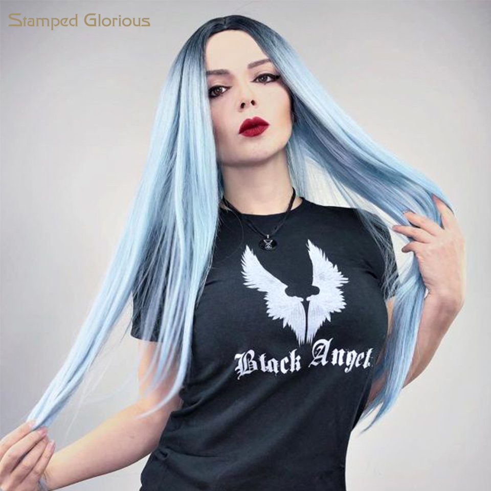 Stamped Glorious Long Straight Ombre Wig For Woman Light Blue Black Roots Heat Resistant Fiber Full Wigs Long Middle Part Wig