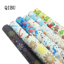 QIBU Faux Leather Sheets Christmas Printed PU Bow Fabric Cartoon Animal DIY Hairbow Bags Making Materials