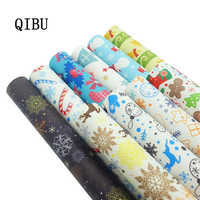 QIBU Faux Leather Sheets Christmas Printed PU Bow Fabric Cartoon Animal Printed Leather Fabric DIY Hairbow Bags Making Materials