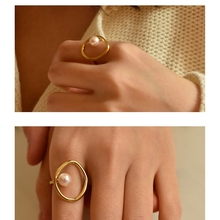 SHUANGR Chic Design Imitation Pearls Simple Round Hollow Geometric Finger Rings for Women Girls Elegant Party Jewelry Gifts chic faux pearls hollow out strand bracelet for women