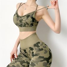 Fitness camouflage summer 2 pieces set sportwear Women wokout outfit yoga clothes Gym casual tank top high waist leggings pants