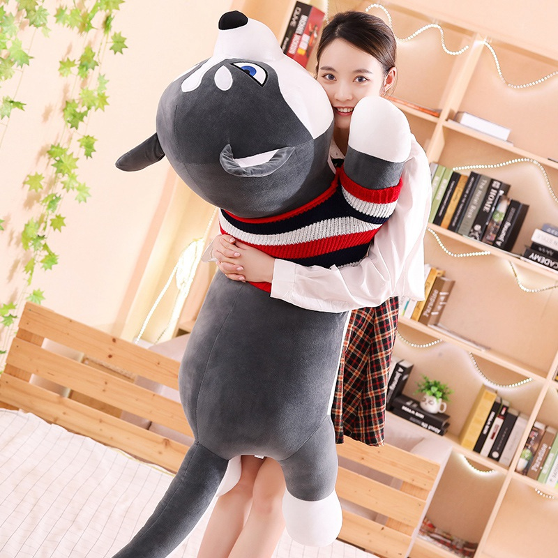 Hot Lovely Funny Dressed Husky Stuffed Doll Stripe Sweater Soft Husky Lying Plush Toy Grey Black Dog Animals Kids Birthday Gift in Stuffed Plush Animals from Toys Hobbies