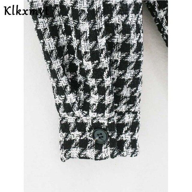Klkxmyt-veste en Tweed pied-de-poule pour femme, manteau en Tweed à la mode, Vintage, manches longues, poches, hauts chics, 2020 6