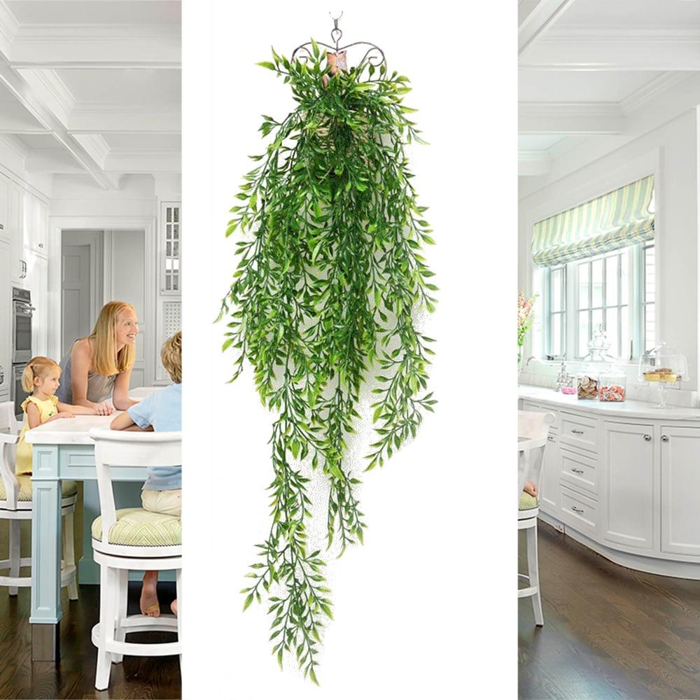 Vigne de lierre vert charnu 1 pièce | Plante rotin plastique murale suspendue, décoration pour la maison, mariage, noël, rotin
