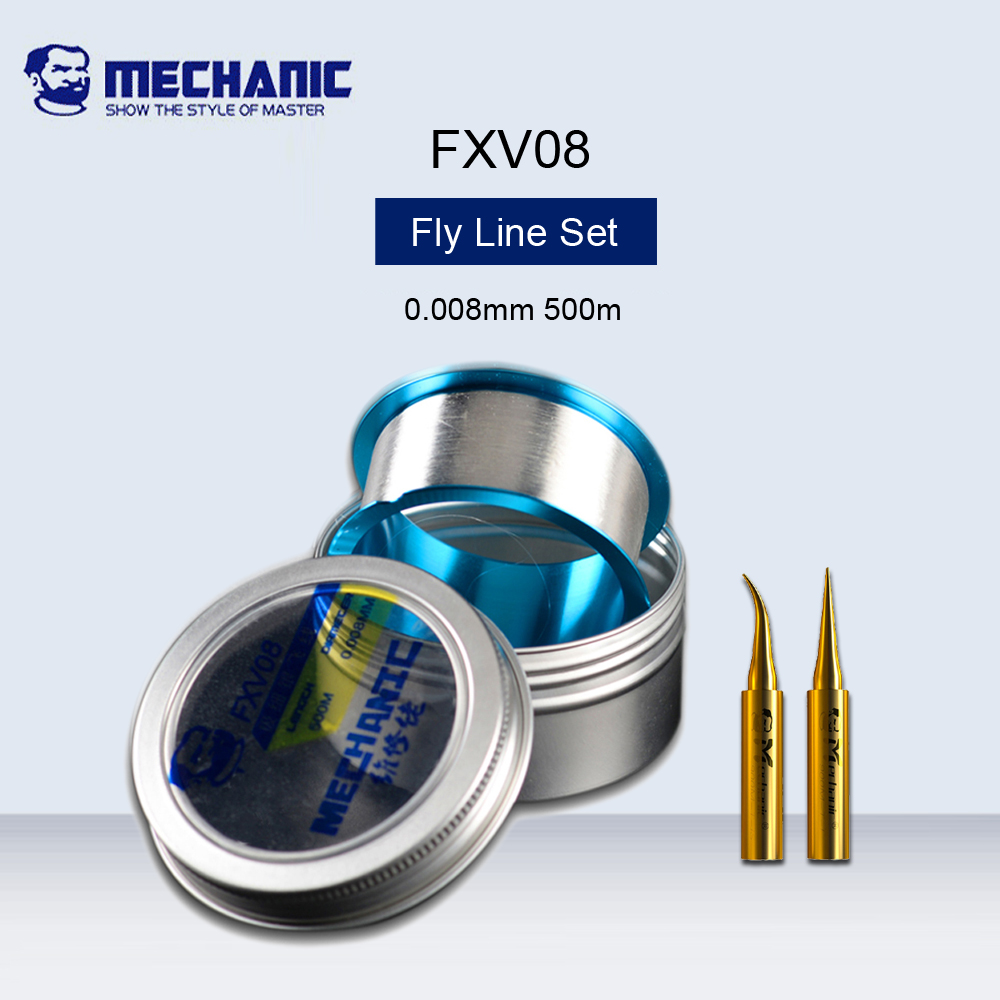 <font><b>MECHANIC</b></font> FXV08 Ultra Fine Silver Flying Line Set 0.008mm Jump Line With Pure Copper Welding Head For iphone Fingerprint Repair image