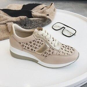 Image 3 - 2020 Flat Platform Sneakers Women Autumn Winter Brand Designer Casual Lightweight Ladies Shoes Hollow Dot Design