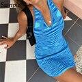 Сексуальное женское летнее пляжное платье Sampic 2021, повседневное Хлопковое трикотажное мини-платье с запахом, облегающее платье с лямкой на ш...