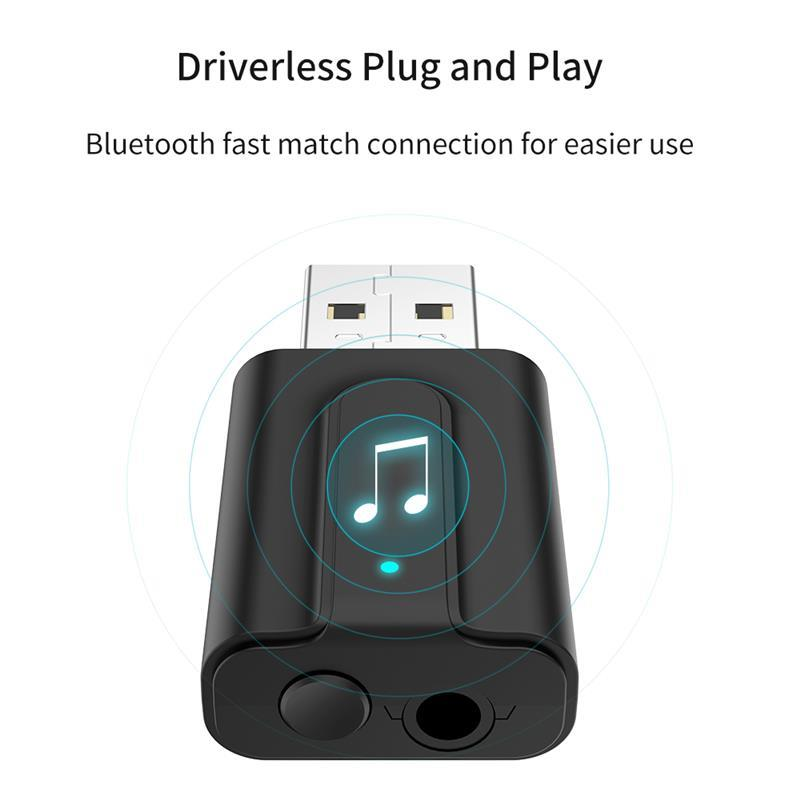 USB <font><b>Bluetooth</b></font> 5,0KORSEED Audio Receiver Transmitter Wireless Adapter <font><b>f</b></font>ür TV Auto PC 2IN1 Mini 3,5mm Jack AUX USB image