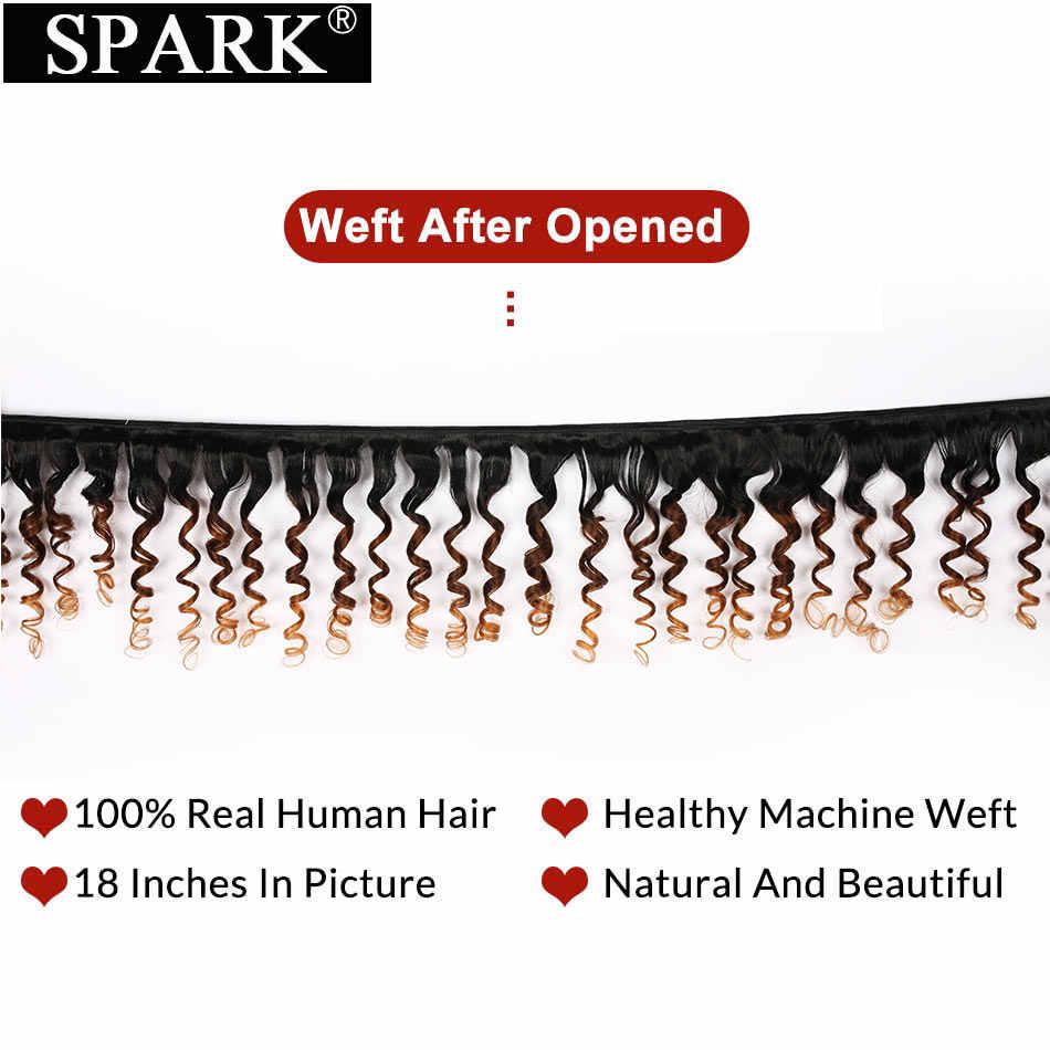 Spark extensiones de cabello humano brasileño rizado 1/3/4 Uds Ombre proporción media extensiones de pelo humano Remy extensiones de pelo ondulado rizado